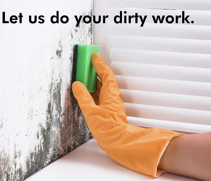 dirty wall, orange rubber glove and green sponge